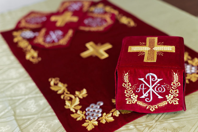 Chalise covers, veils. Red Color, embroidered with Crosses