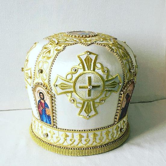 Orthodox archpriest (bishop) mitra. Gold