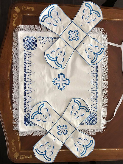 Chalice covers veils, fully embroidered, white blue