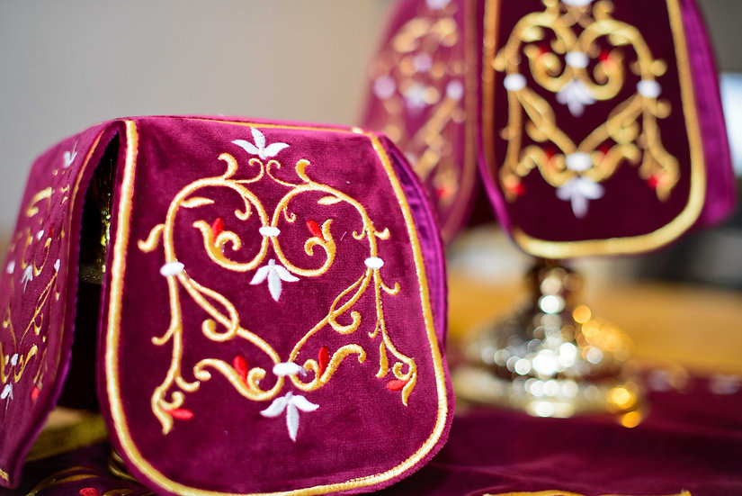 Embroidered Chalise covers, veils. Burgundy Color, cotton velvet