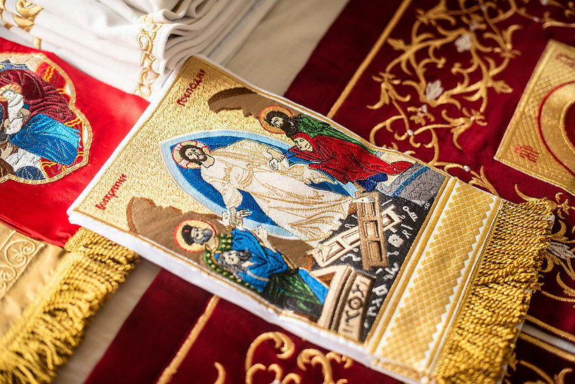 Embroidered Gospel bookmark with the icon of Resurrection
