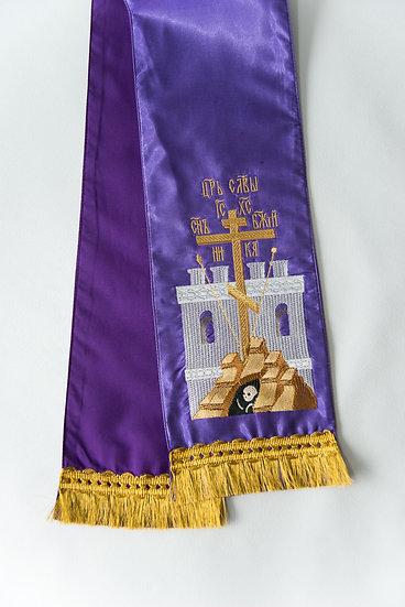 Embroidered Gospel bookmark with Golgofa