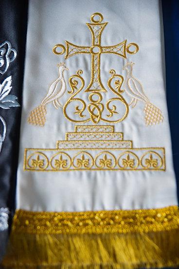 Fully embroider Gospel Bookmark white color