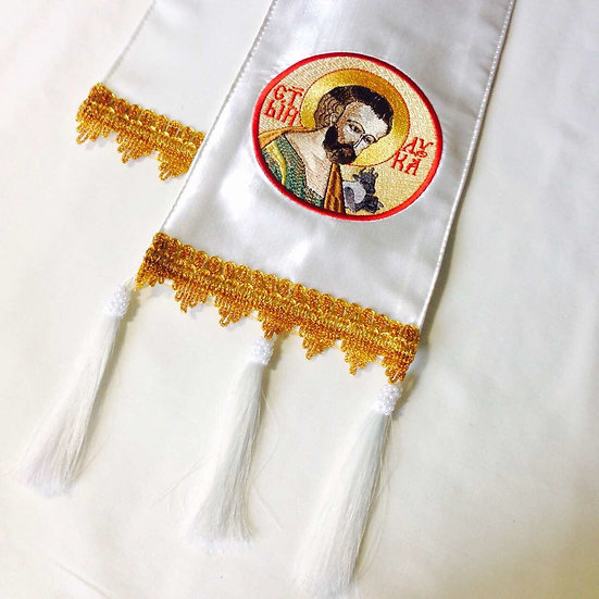 Embroidered Gospel bookmark with the icon