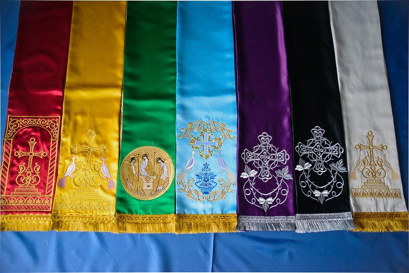 Set of embroideredgospel bookmarks
