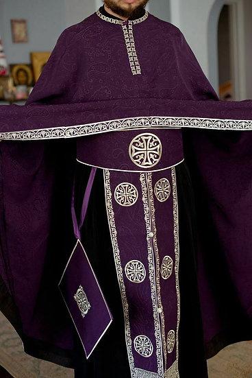 Orthodox priest vestments set, Purple silver, Embroidered, silk