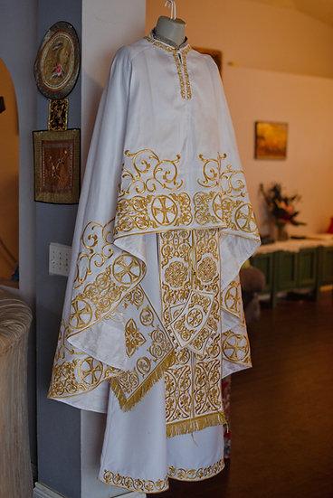 White-gold  full embroidered  vestments priest set