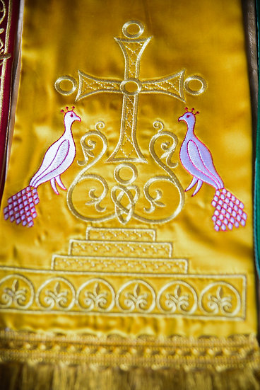 Fully embroider Gospel Bookmark gold yellow