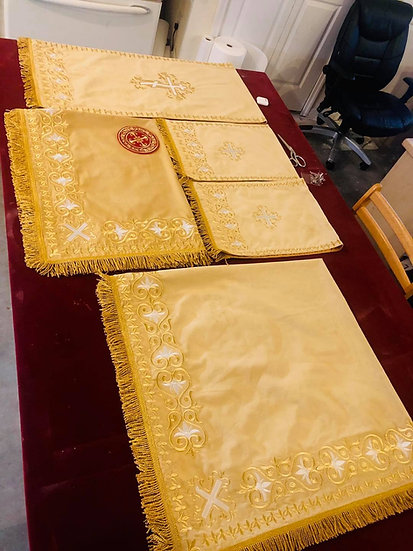 Altar and church covers light gold color with metallic gold embroidery