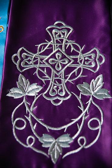 Fully embroider Gospel Bookmark purple color