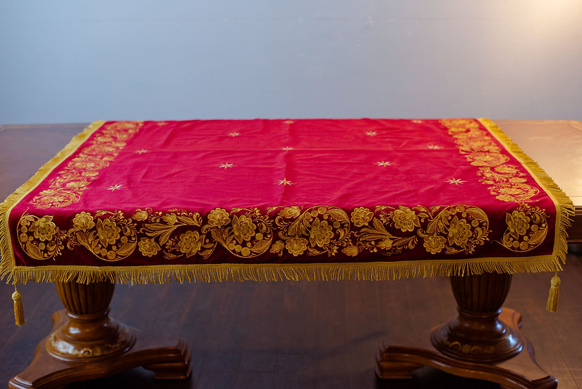 Holy table cover dark red, burgundy with gold embroidery
