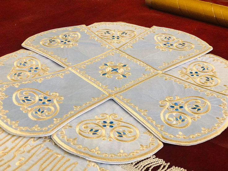 Chalice covers veils, blue with icon of Theotokos fully embroidered
