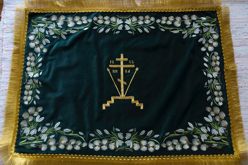Embroidered Chalise covers, veils. Red Color, embroidered for Palm Sunday