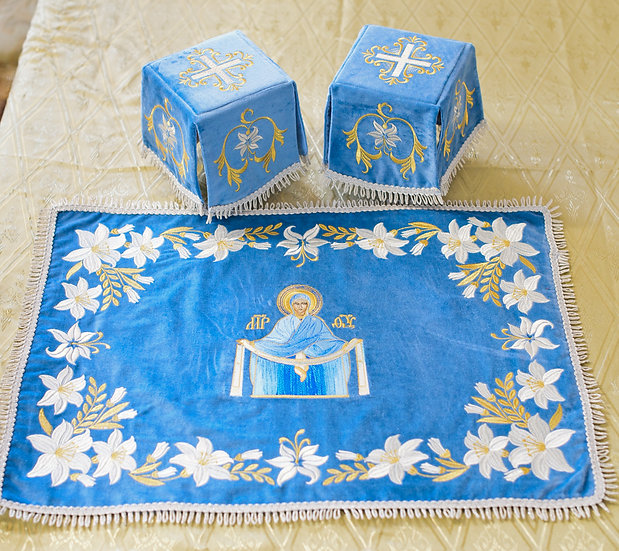 Chalise covers, veils. Blue Color, embroidered with Icon of Pokrov