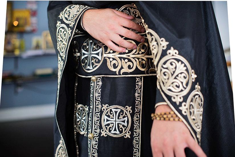 Orthodox priest vestments,Black, Embroidered