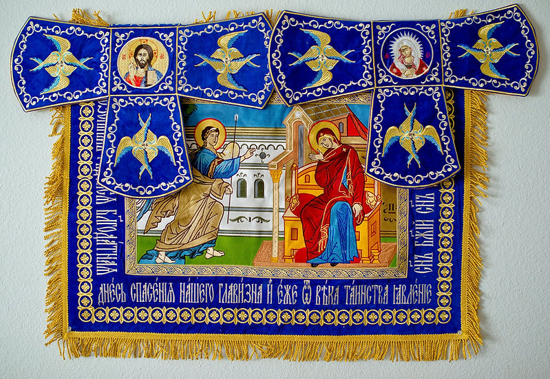 Embroidered Chalise covers, veils. Annonciation of Theotokos.