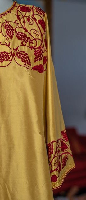 Deacon embroidered vestments gold with dark redembroidery