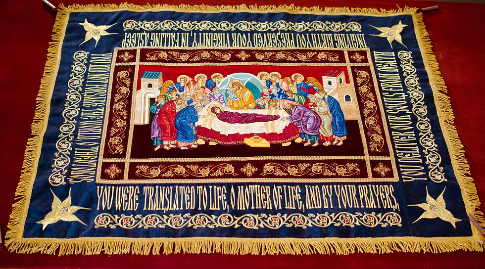 Fully-embroidered Orthodox epitaphios (shroud) of the Most Holy Theotoko