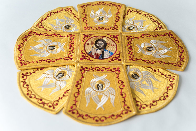 Chalise covers, veils. Gold Yellow Color, embroidered with icons