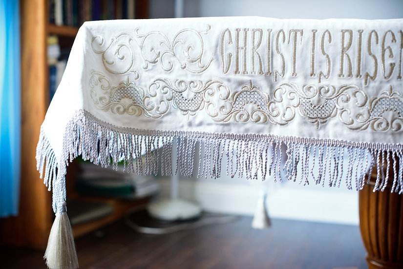 Holy table cover white silver