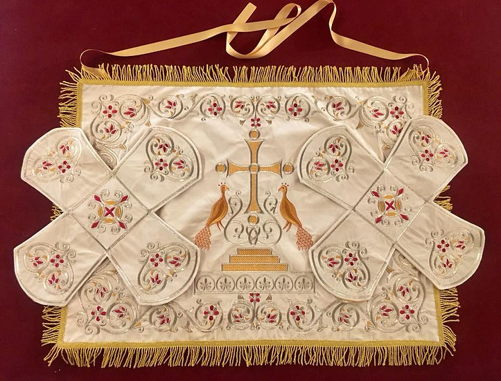 Embroidered Chalise covers, veils. White Color, cotton velvet