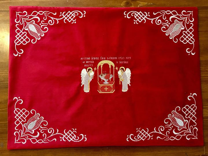 Embroidered Chalise covers, veils. Red Color, embroidered