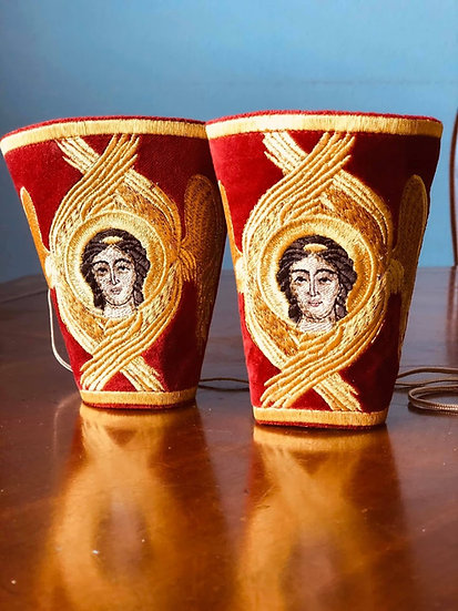 Fully embroidered cuffs for priest, deacon, bishop with icons of Angels