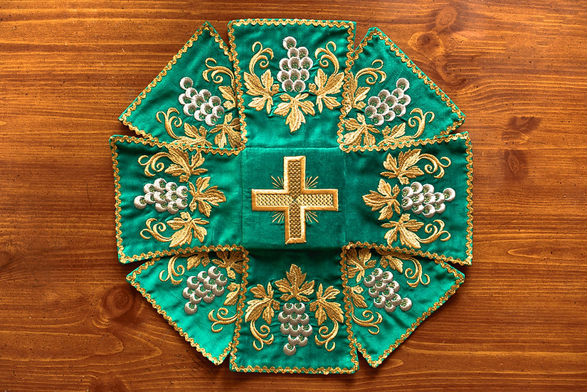 Chalise covers, veils. Green Color, embroidered with icon of Holy Trinity