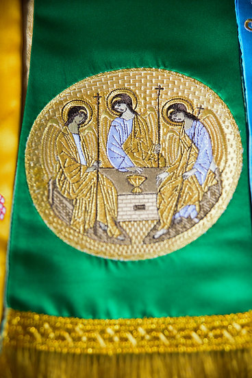 Embroidered Gospel bookmark with the icon of Holy Trinity