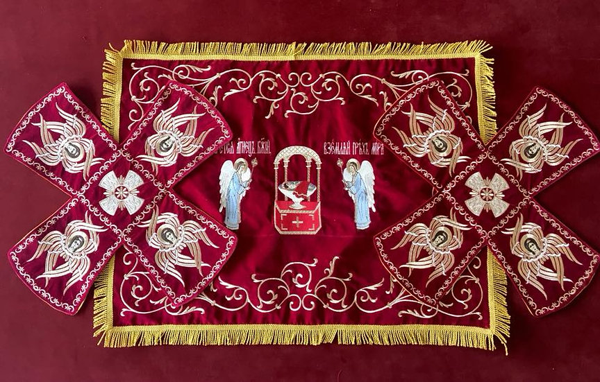 Embroidered Chalise covers, veils. Red Color, embroidered, with angels