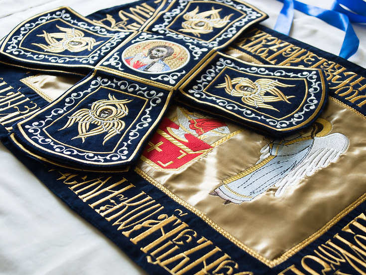 Chalise covers, veils. Dark blue Color, embroidered with icons