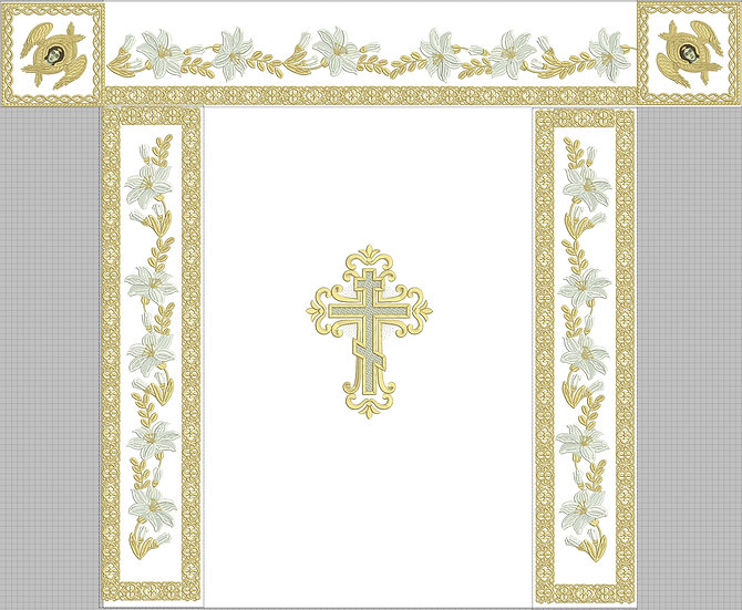Holy table cover white, lilies, with gold embroidery all 4 sides and top