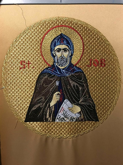The fully embroidered icon of st. Job Pochaiv