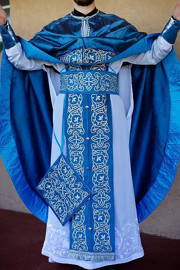 Orthodox priest vestments set fully embroidered, blue