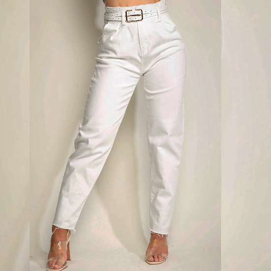 White belted jeans