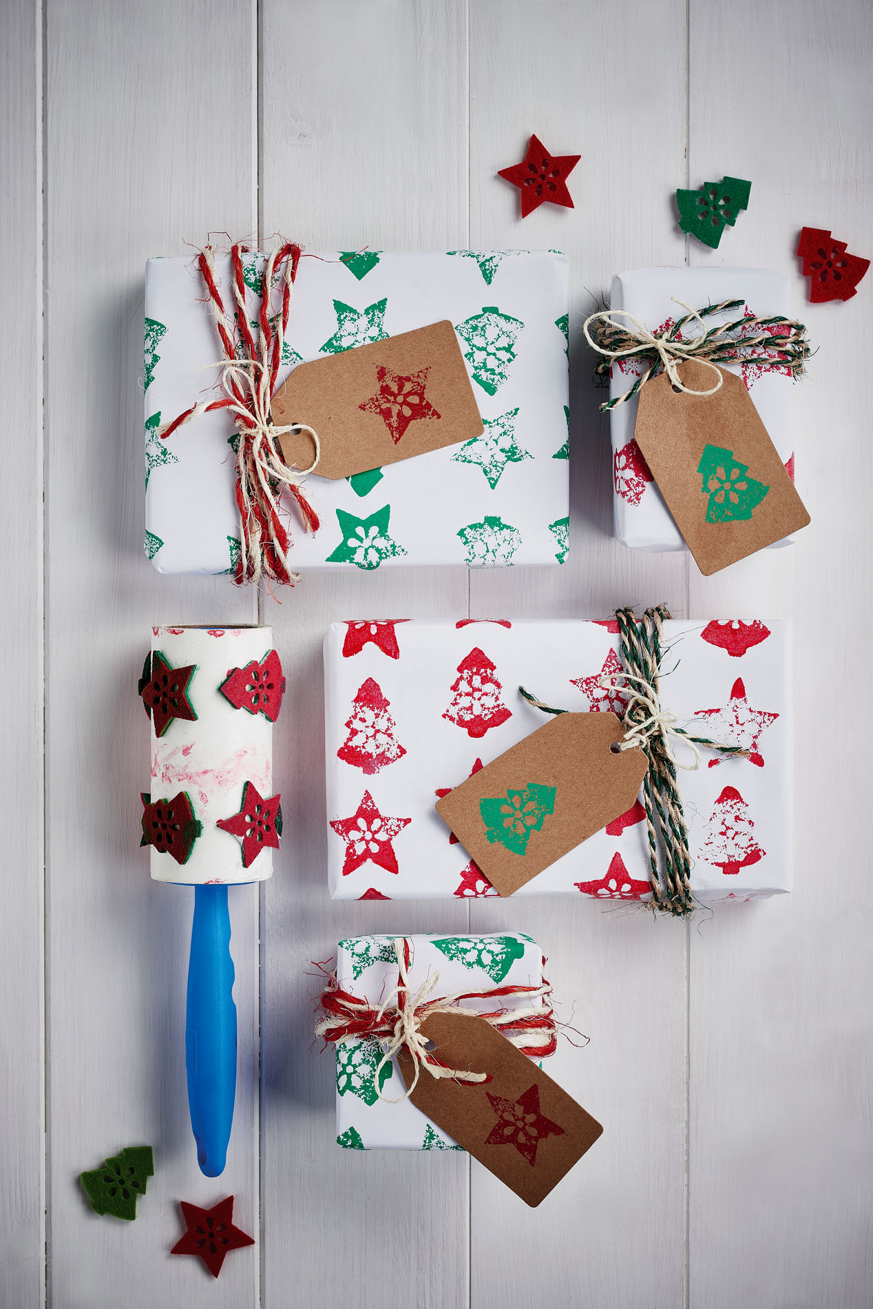 Hand-stamped wrapping paper