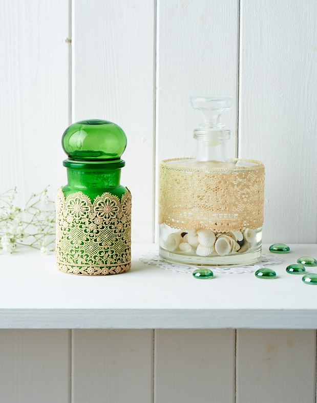 Delicate lace bottle display