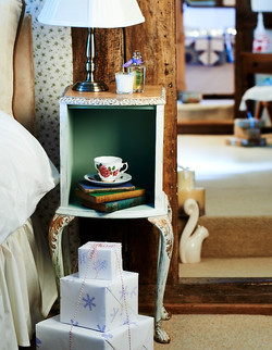 Bedside table at Christmastime