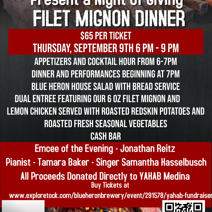 BLUE HERON BREWERY & YAHAB - NIGHT OF GIVING FILET MIGNON DINNER
