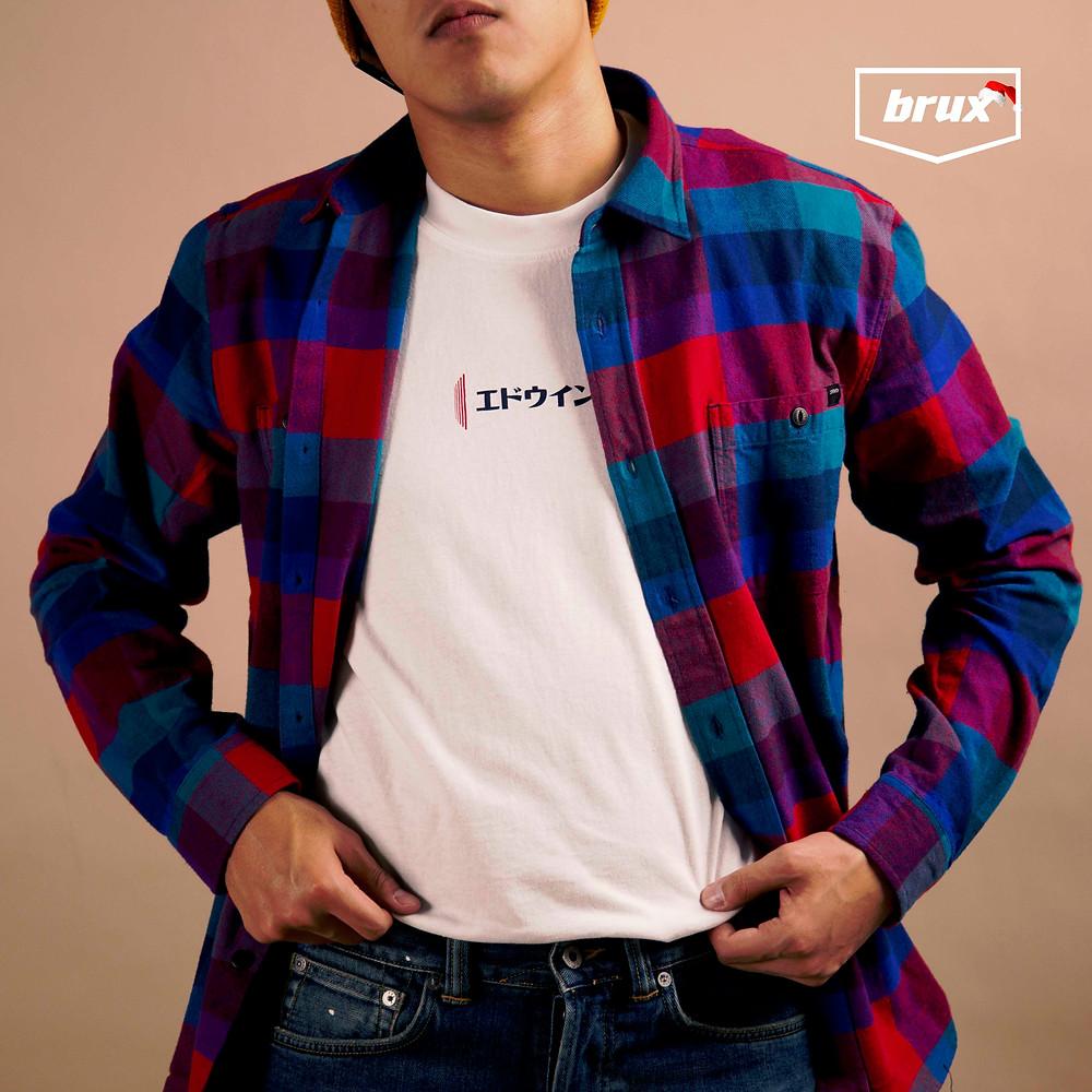 Рубашка Edwin Labour, Мужская футболка Edwin Aurora White Garment Washed, Джинсы Edwin ED-80 Yoshiko Left Hand Denim