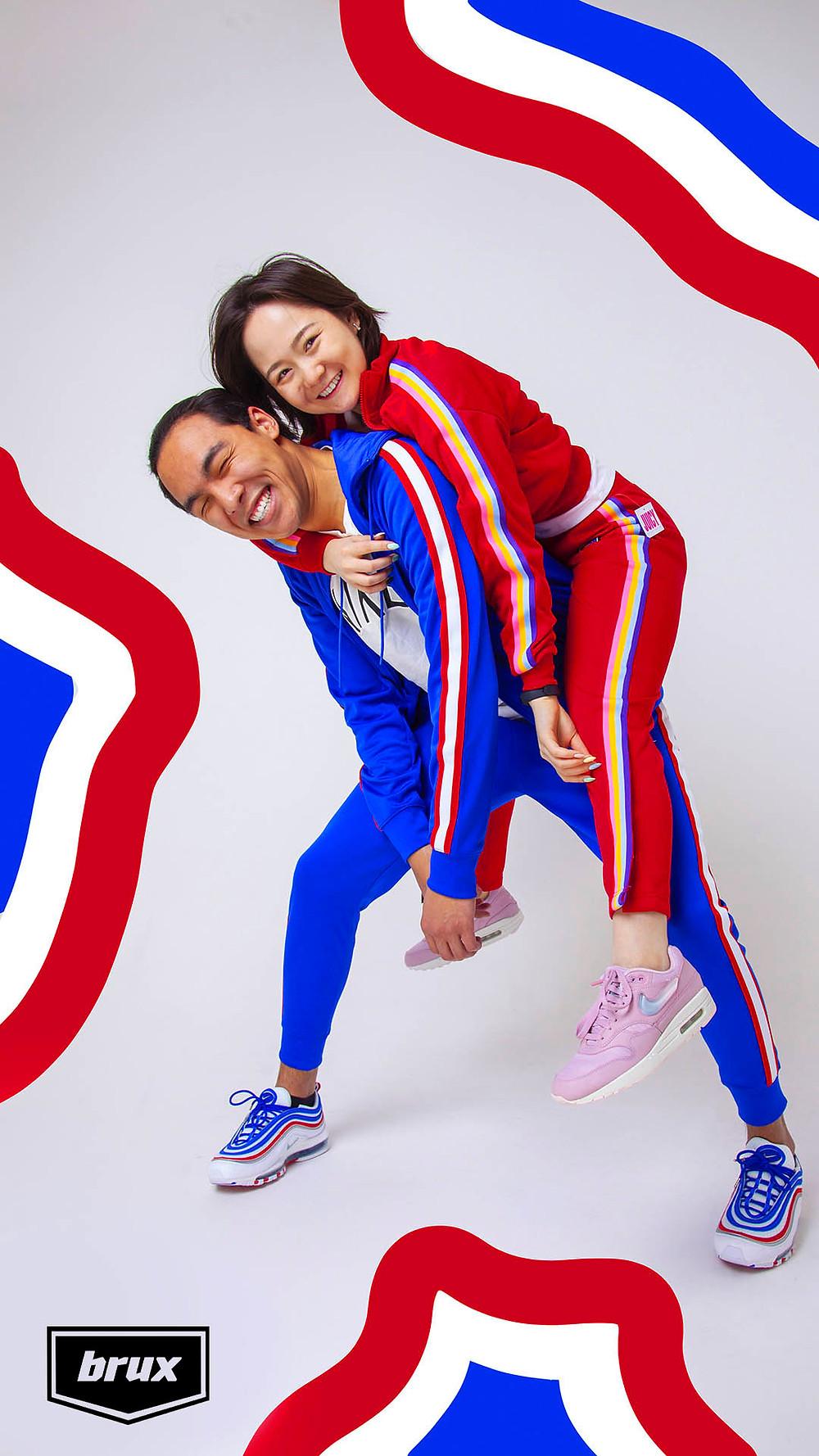 Яркий спортивный костюм Nike - для него. Нежный спортивный костюм Juicy - для неё.