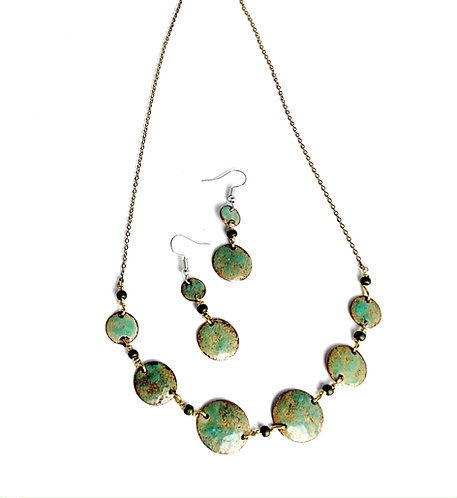 Enameled Copper Necklace and Earrings Set