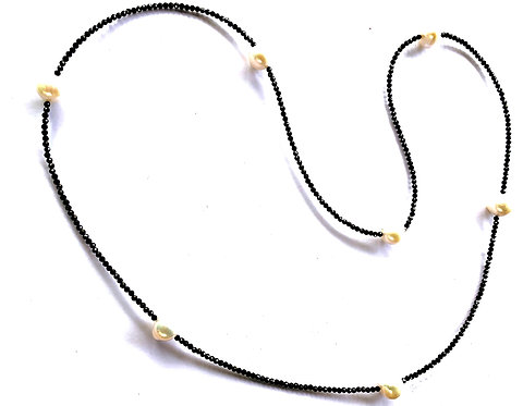 Tiny Faceted Black Spinel and Freshwater Pearls