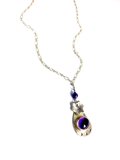 Amethyst and flower Necklace
