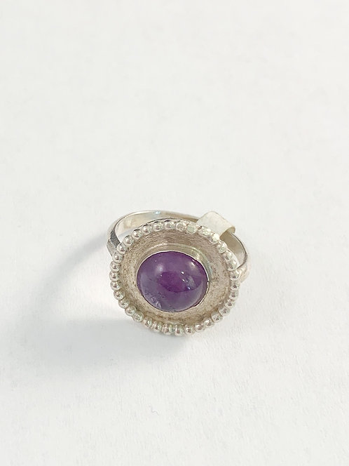 Beaded accent Amethyst Ring