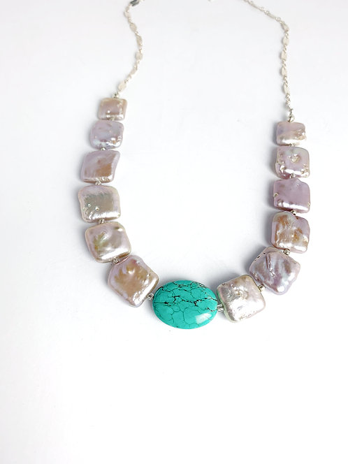 Freshwater Beige Square Pearls with Turquoise