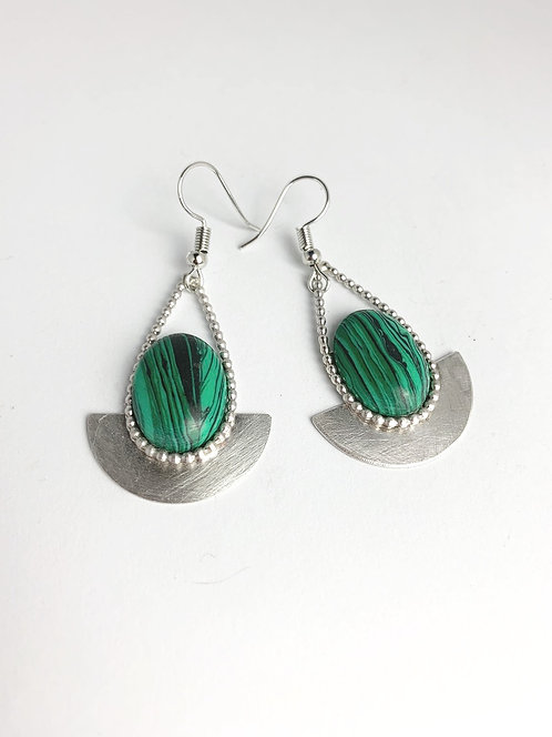 Malachite and Silver Earrings