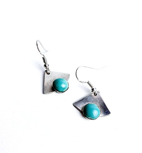 Turquoise and Silver Small Earrings