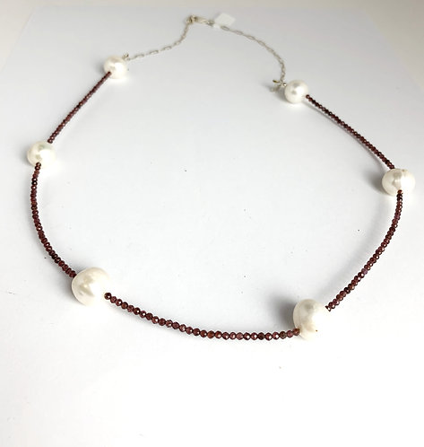 Tiny Faceted Garnets with Freshwater Pearls