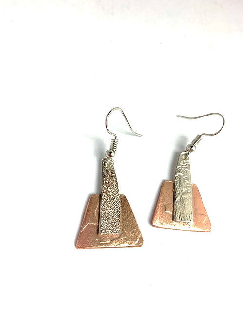 Reticulated Silver and Copper Earrings